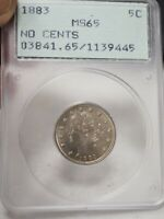 1883 LIBERTY V NICKEL NO CENTS OLD HOLDER PCGS MINT STATE 65  9445