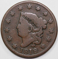 1818 1C N-6 CORONET OR MATRON HEAD LARGE CENT