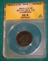 ANACS 1802 / 0 HALF CENT VG 8 KEY DATE 1/2C DRAPED BUST COPPER C 2