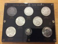 CAPITAL PLASTIC 8 TYPE SILVER DOLLAR SET 1801 BUST 1870 SEATED 1876 TRADE $1 ETC