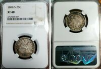 1888 S 25C SEATED LIBERTY SILVER QUARTER NGC XF 40 S11