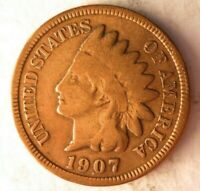 1907 UNITED STATES CENT   INDIAN HEAD   EXCELLENT COIN   LOT