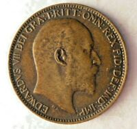 1908 GREAT BRITAIN FARTHING   AU   QUALITY RARE DATE   GREAT