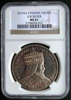 EE1923 1931 ETHIOPIA TALARI X 8 PROOF SELASSIE LION NGC MS61 HD VIDEO IN DESC