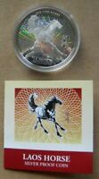 TWO 2002 LAOS 15000 KIP SILVER PROOF YEAR OF HORSE WITH BOX AND COA KM 86 AND 87