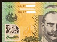 PAIR OF 2017 AUS $100 NOTES    AA17   HE17    FIRST & LAST P