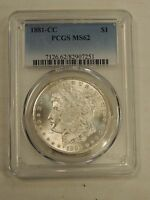1881-CC MORGAN SILVER DOLLAR $1 MINT STATE 62 PCGS   AND WHITE 7251