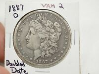 1887-O $1 MORGAN SILVER DOLLAR VF VAM 2 COIN  1