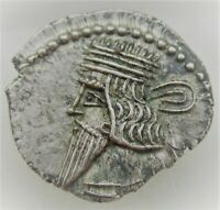 UNRESEARCHED ANCIENT PARTHIAN AR SILVER DRACHM COIN 3.83G