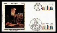 DR WHO 1996 FDC JOINT ISSUE ISRAEL HANUKKAH COLORANO SILK CA