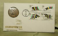 DR WHO 1972 FDC OLYMPICS SPORTS BLOCK COIN/MEDAL FLEETWOOD C