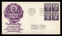 DR WHO 1952 FDC NATO BLOCK STAEHLE/CACHET CRAFT  F32829