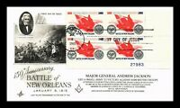 US COVER BATTLE OF NEW ORLEANS FDC PLATE BLOCK MASONIC ADD O