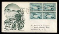 DR WHO 1952 FDC GRAND COULEE DAM BLOCK STAEHLE/CACHET CRAFT