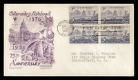 DR WHO 1951 FDC COLORADO 75TH ANIV BLOCK STAEHLE/CACHET CRAF