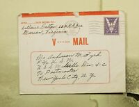 DR WHO 1942 MARION VA V MAIL TO USS MELVILLE NAVAL SHIP WWII