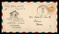 DR WHO 1938 DARLING PA NAMW AIRMAIL WEEK HAND DRAWN CACHET