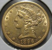 1896 S HALF EAGLE GOLD   US $5 SAN FRANCISCO MINT NOT CLEANED NICE EXAMPLE