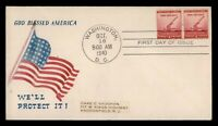 DR WHO 1940 FDC NATIONAL DEFENSE WWII PATRIOTIC CACHET PAIR