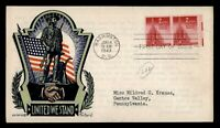 DR WHO 1943 FDC UNITED STAEHLE/FLEETWOOD WWII PATRIOTIC CACH