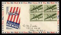 DR WHO 1944 FDC 8C AIRMAIL CACHET BLOCK  F33945