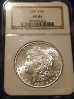 1881-S $1 NGC MINT STATE 64 MORGAN SILVER DOLLAR