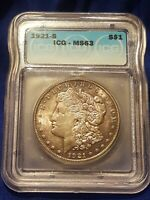 1921-S MORGAN SILVER DOLLAR ICG MINT STATE 63 VALUED AT $87
