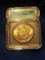 1921-S MORGAN SILVER DOLLAR, ICG MINT STATE 63. COPPER/GOLDEN TONED, ISSUE FREE