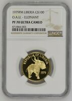 1979 LIBERIA 100 DOLLARS GOLD ELEPHANT NGC PF70 ULTRA CAMEO  GEM  TOP POP