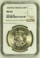 1947 MO MEXICO 5 PESOS NGC MS64 CUAUHTEMOC SILVER W/ HD VIDEO IN DESCRIPTION