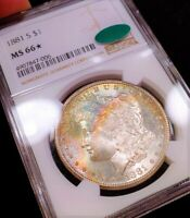 1881-S NGC MINT STATE 66 CAC  STAR MONSTER RAINBOW TONED COLOR MORGAN SEMI PL FLASHY