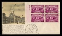 DR WHO 1937 FDC CONSTITUTION 150TH ANIV CACHET PLATE BLOCK