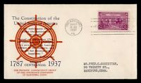 DR WHO 1937 FDC CONSTITUTION 150TH ANIV CACHET  F33974