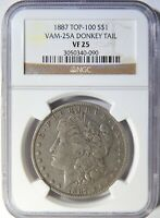 1887 P MORGAN DOLLAR VAM-25A DONKEY TAIL NGC VF-25 R-6