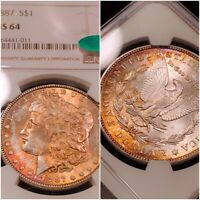 1887 NGC MINT STATE 64 CAC FIRE BALL 2 SIDED TONED COLOR MORGAN GREAT LUSTER