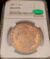 1881-S NGC MINT STATE 64PL CAC PL PROOF LIKE RAINBOW TONED COLOR MORGAN  CAC