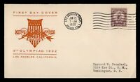DR WHO 1932 FDC OLYMPICS SPORTS LOS ANGELES CACHET  F34208
