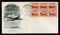 DR WHO 1949 AIR MAIL 6 CENT BOOKLET PANE FDC C204997