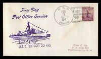 DR WHO 1941 USS EDISON NAVY SHIP FIRST DAY POSTAL SERVICE C2