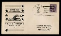 DR WHO 1940 USS O'BRIEN NAVY SHIP FIRST DAY IN COMMISSION PR