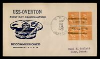 DR WHO 1939 USS OVERTON NAVY SHIP RECOMMISSIONED PREXIE BLOC