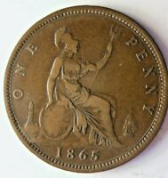 1865 GREAT BRITAIN PENNY   UNCOMMON DATE   GREAT QUALITY COI