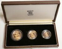 THE 1983 UNITED KINGDOM GOLD PROOF COLLECTION 3 GOLD COIN SE