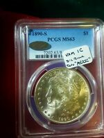 1890-S MORGAN DOLLAR PCGS MINT STATE 63 UNDERGRADED EASY 64 VAM 1C DIE BREAK -MERIC-
