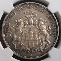 1876 GERMANY HAMBURG  FREE HANSEATIC CITY . SILVER 5 MARK COIN. NGC MS 62