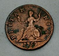 OLD 1754 GREAT BRITAIN BRITISH UK FARTHING COIN GEORGE II COLONIAL