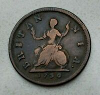 OLD 1736 GREAT BRITAIN BRITISH UK FARTHING COIN GEORGE II COLONIAL