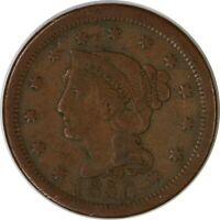 1850 1C BRAIDED HAIR LARGE ONE CENT/PENNY US COIN