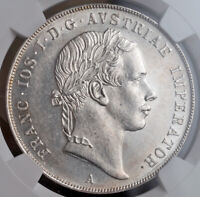 1853 AUSTRIAN EMPIRE FRANZ JOSEF I. BEAUTIFUL SILVER THALER COIN. NGC MS 62