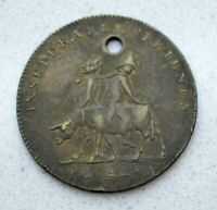 OLD BRASS 1814 NAPOLEON INSEPARABLE FRIENDS TO ELBA TOKEN BY KETTLE
